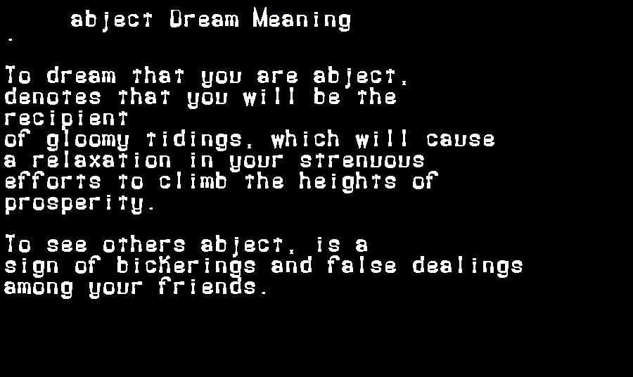 abject dream meaning