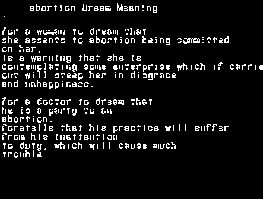 abortion dream meaning