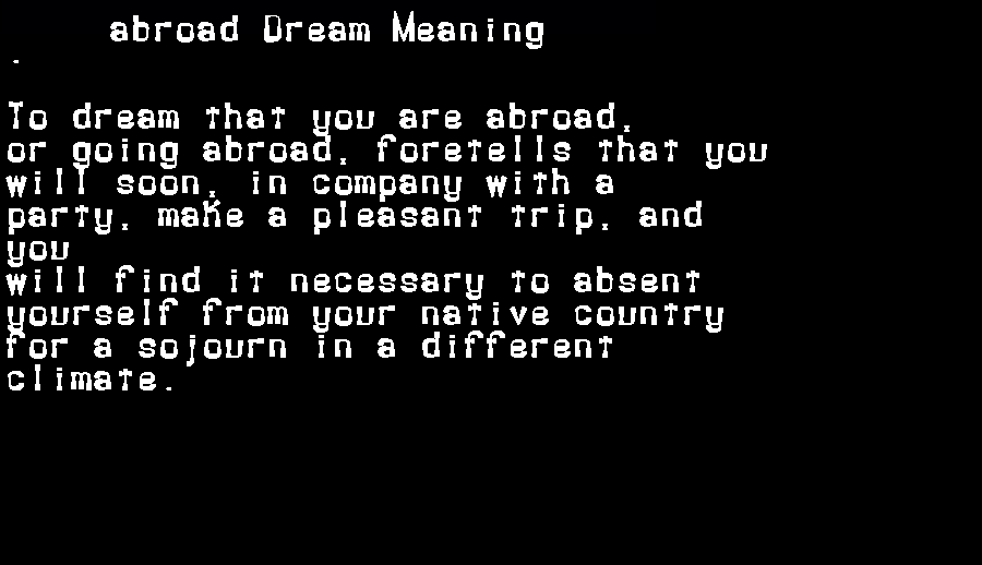 abroad dream meaning
