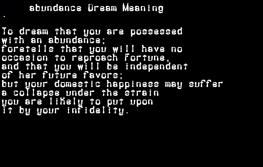 abundance dream meaning