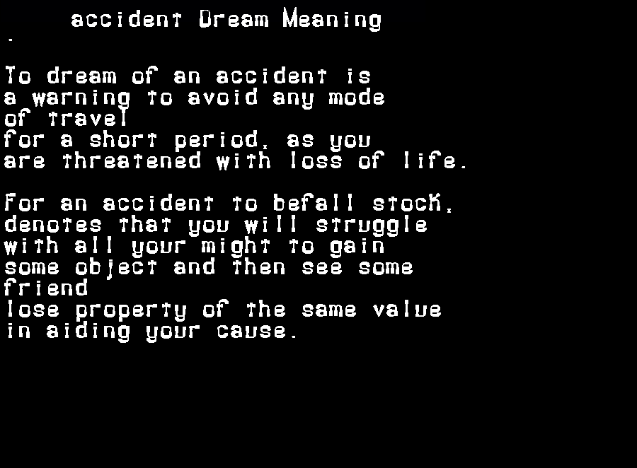 accident dream meaning