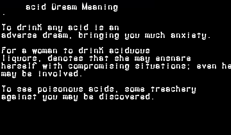 acid dream meaning