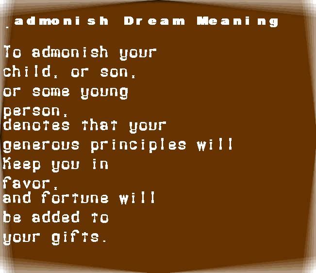 admonish dream meaning