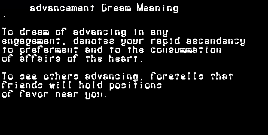 advancement dream meaning