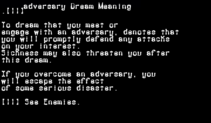 adversary dream meaning