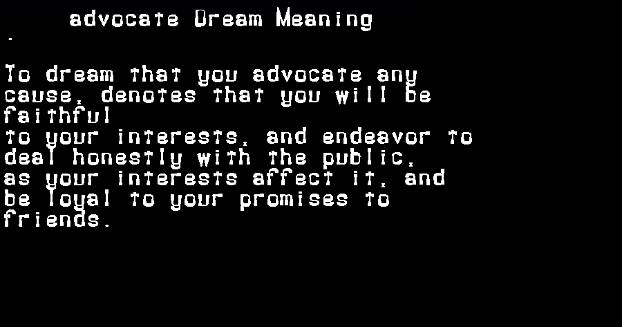 advocate dream meaning