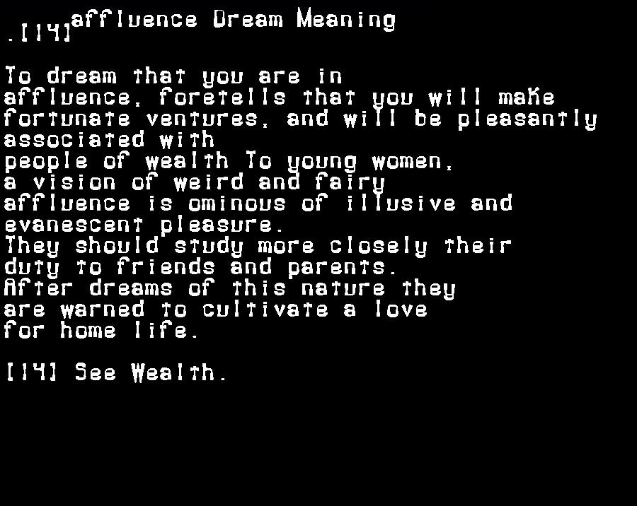 affluence dream meaning