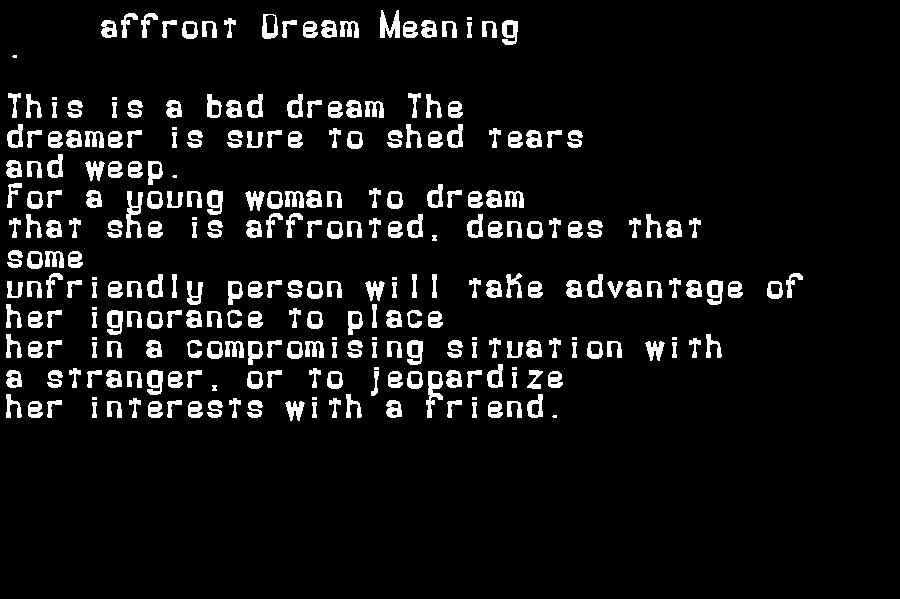 affront dream meaning