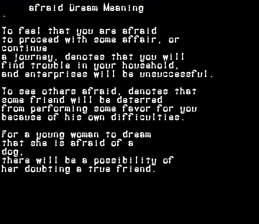 afraid dream meaning