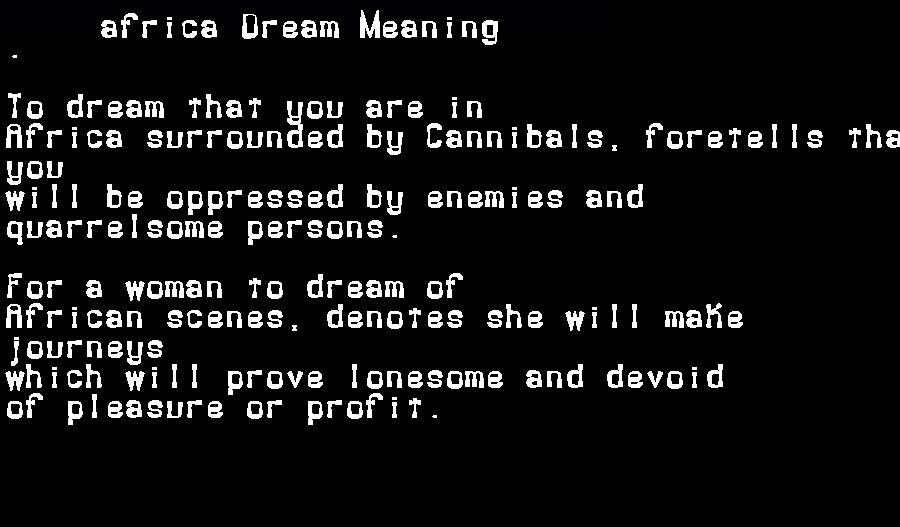 africa dream meaning