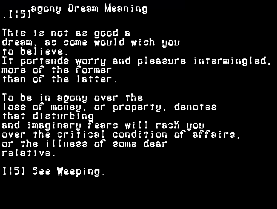 agony dream meaning