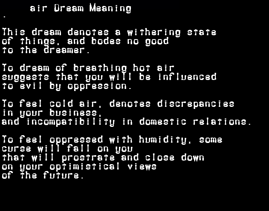 air dream meaning