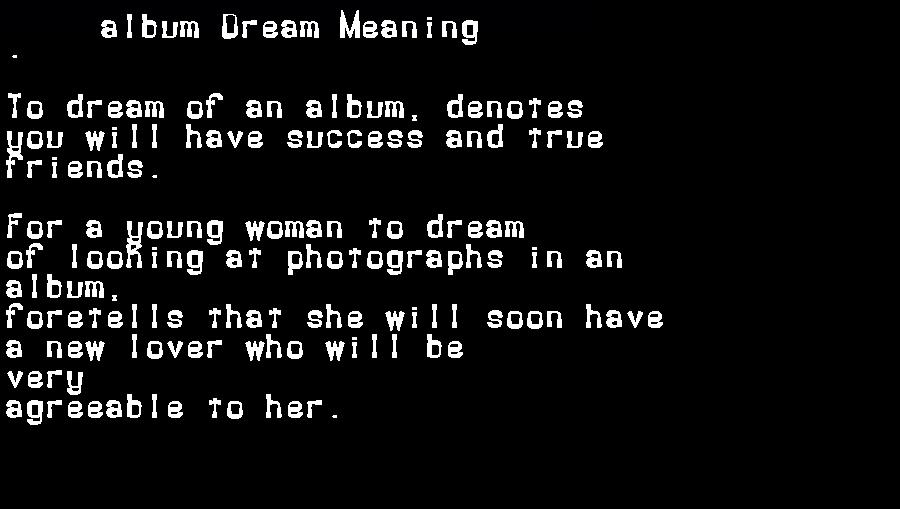 album dream meaning