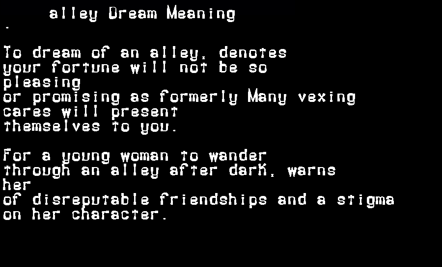 alley dream meaning