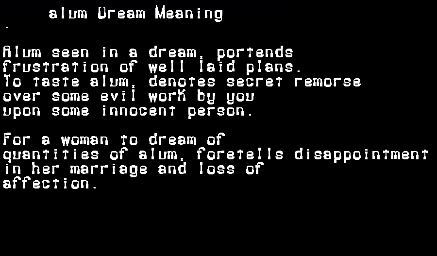 alum dream meaning