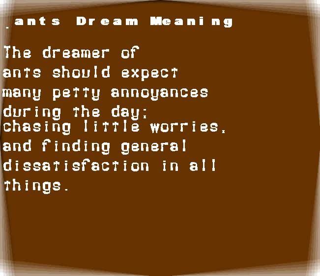 ants dream meaning