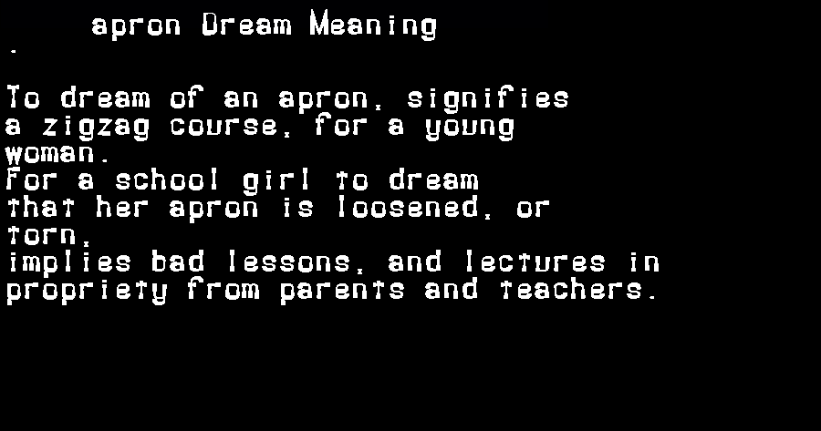 apron dream meaning