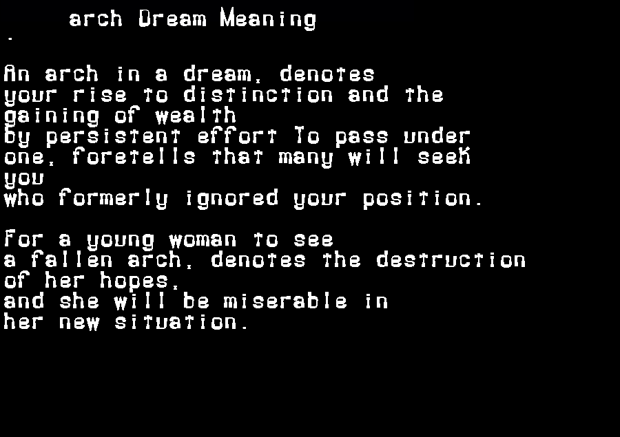 arch dream meaning