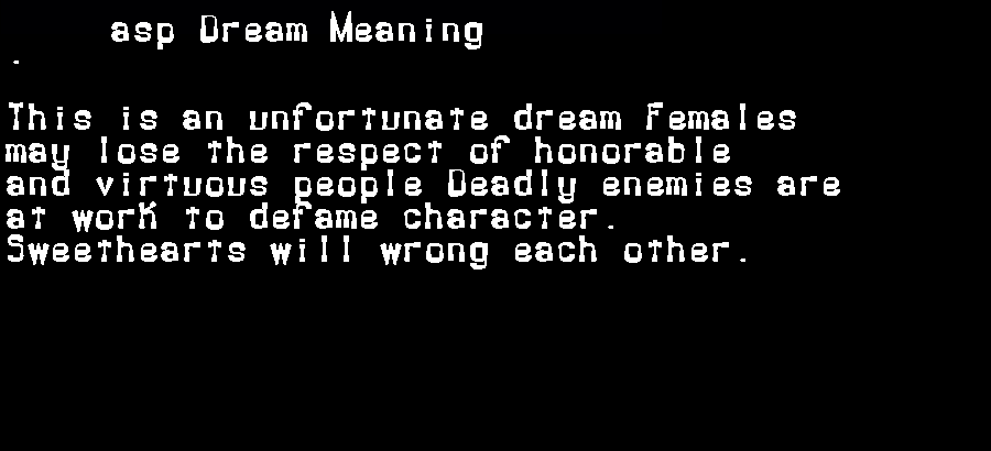 asp dream meaning