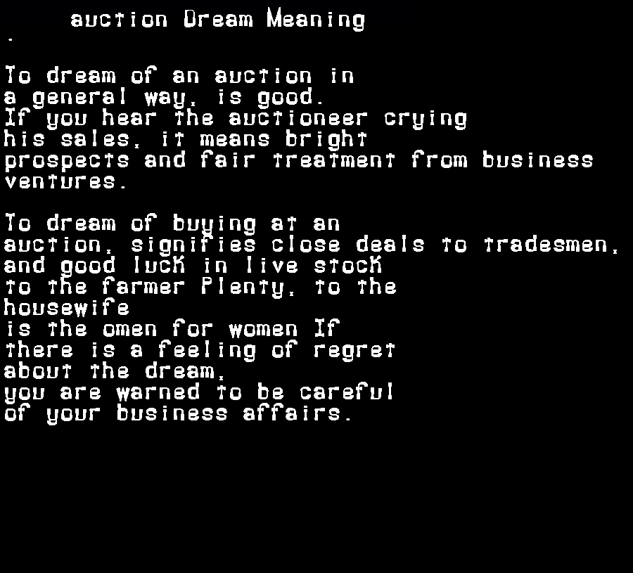 auction dream meaning