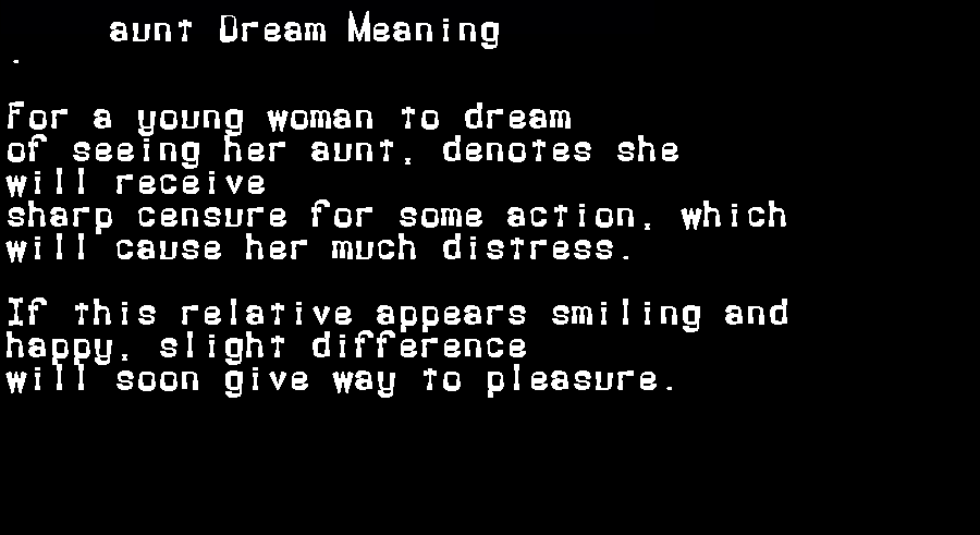aunt dream meaning