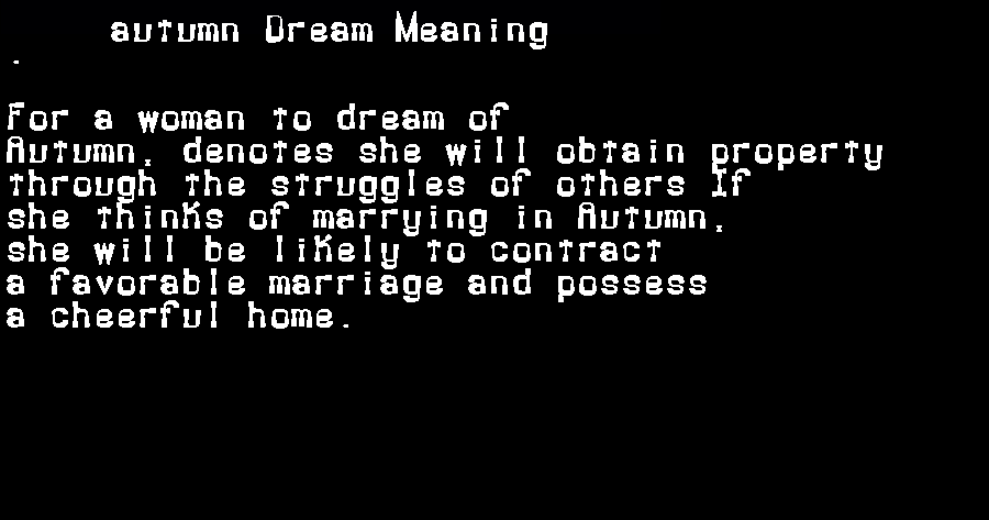 autumn dream meaning