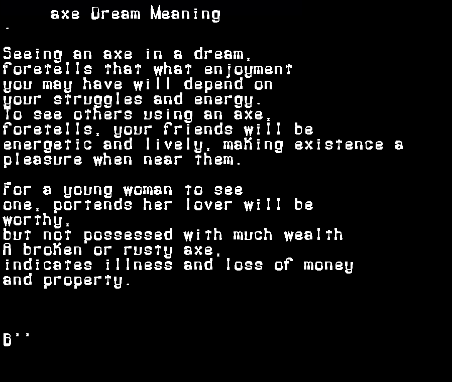 axe dream meaning