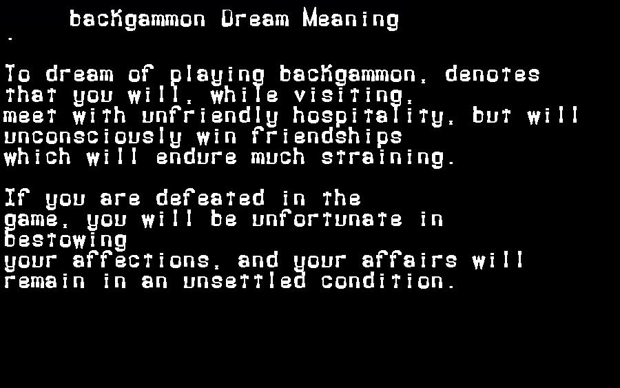 backgammon dream meaning