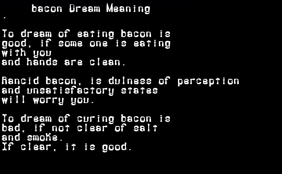 bacon dream meaning