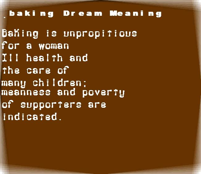 baking dream meaning