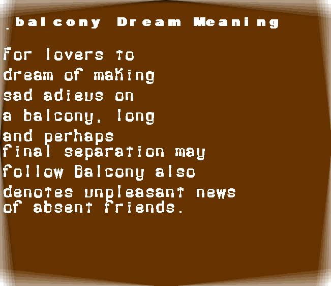 balcony dream meaning