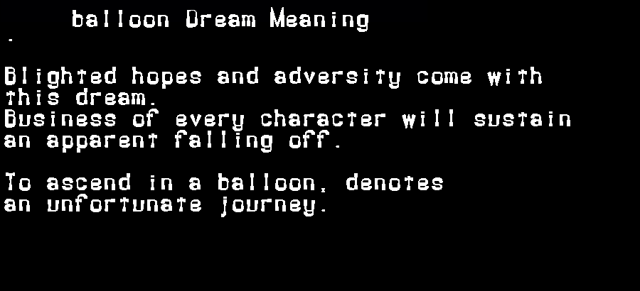 balloon dream meaning