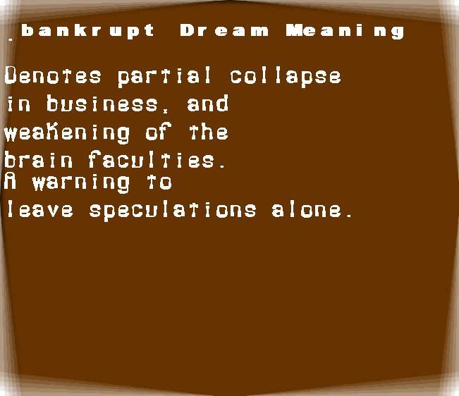 bankrupt dream meaning