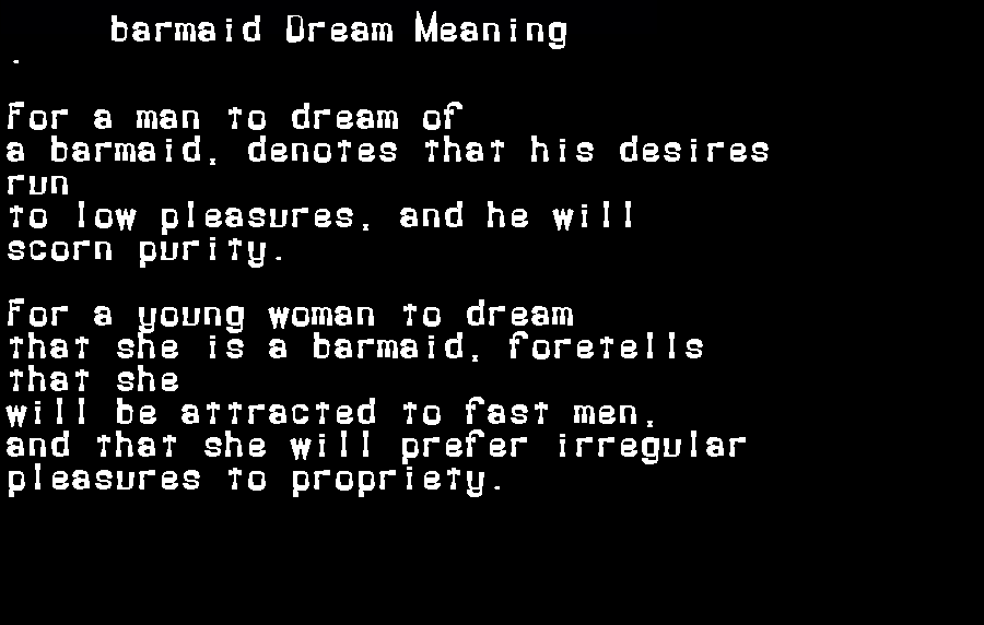 barmaid dream meaning