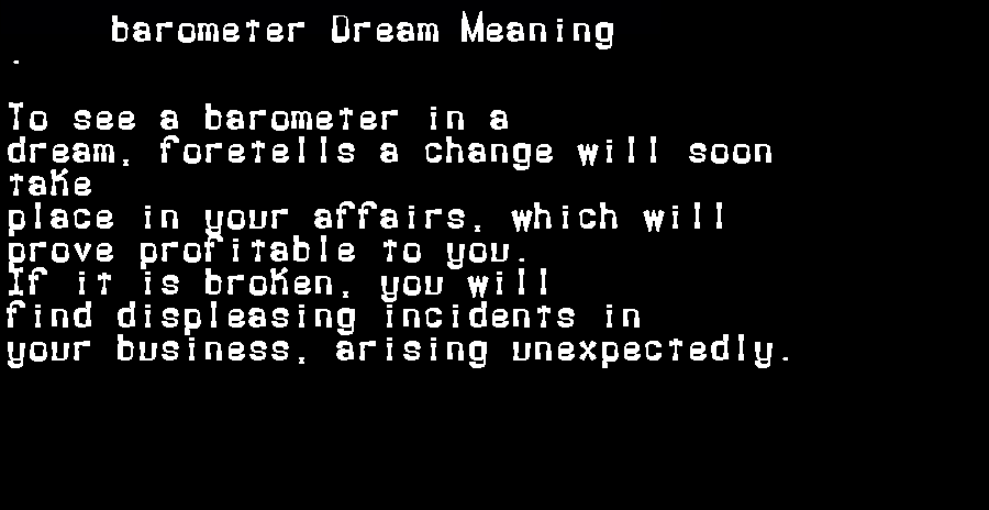 barometer dream meaning
