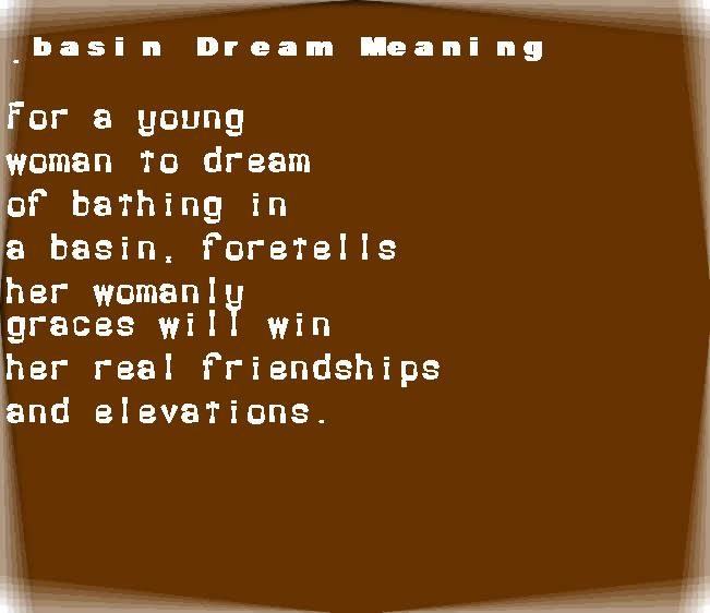 basin dream meaning