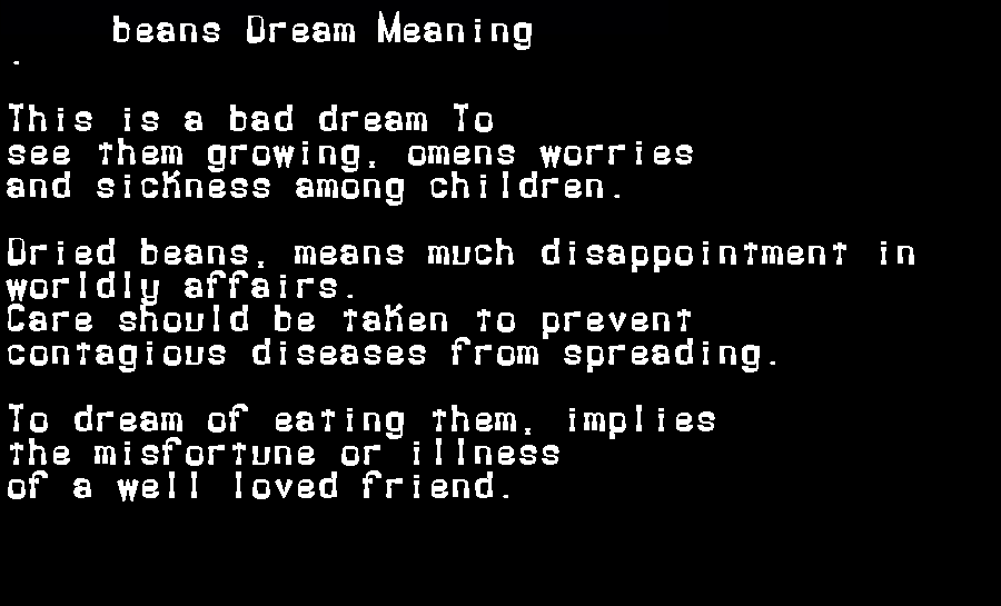 beans dream meaning
