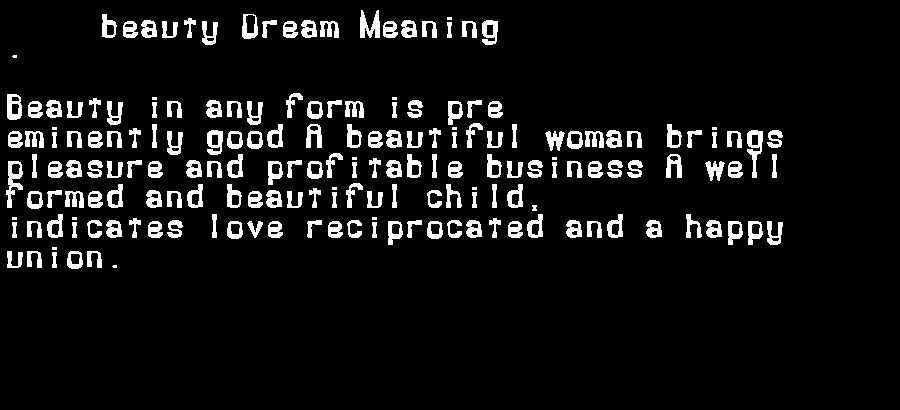 beauty dream meaning