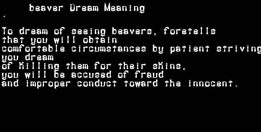 beaver dream meaning