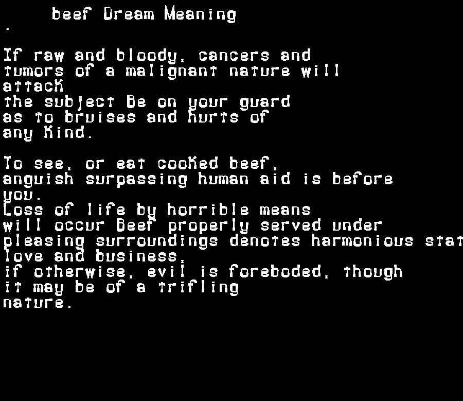 beef dream meaning