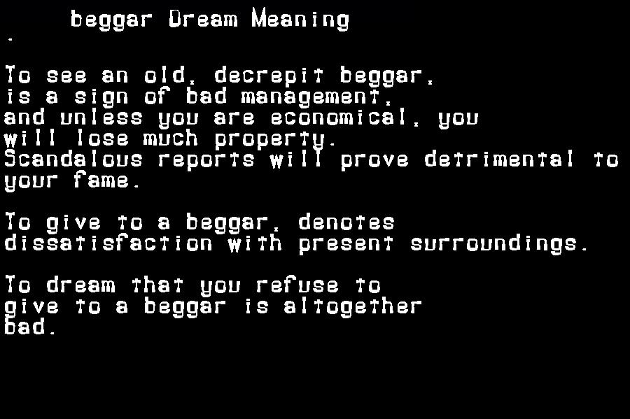 beggar dream meaning