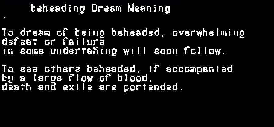 beheading dream meaning