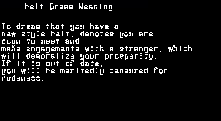 belt dream meaning