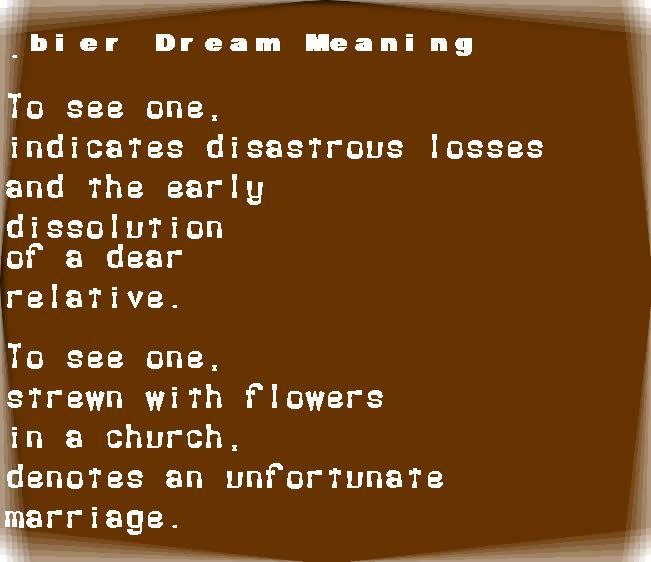 bier dream meaning