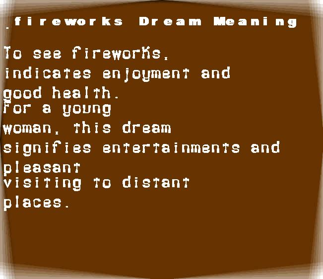 fireworks dream meaning