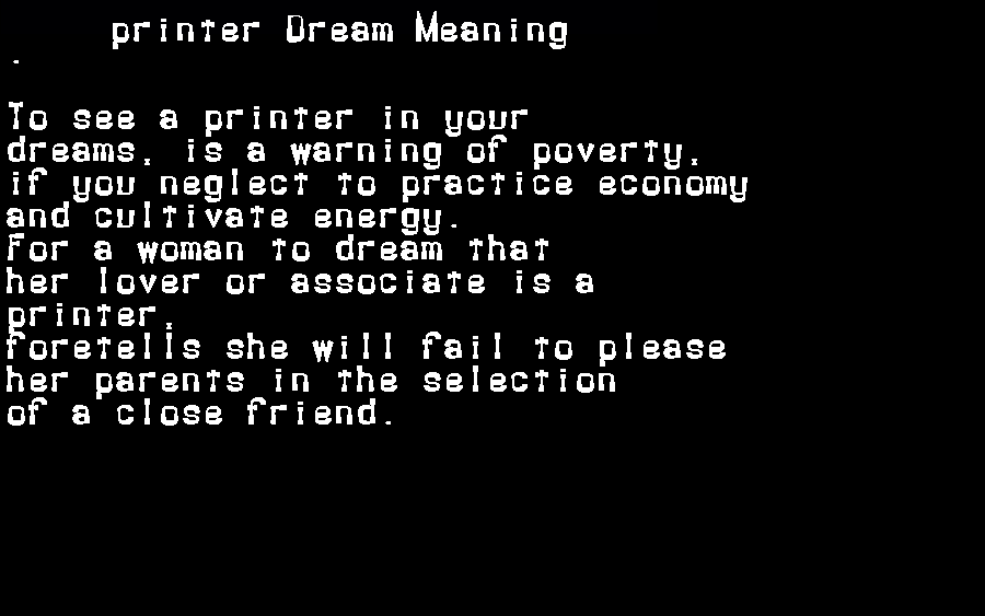 printer dream meaning